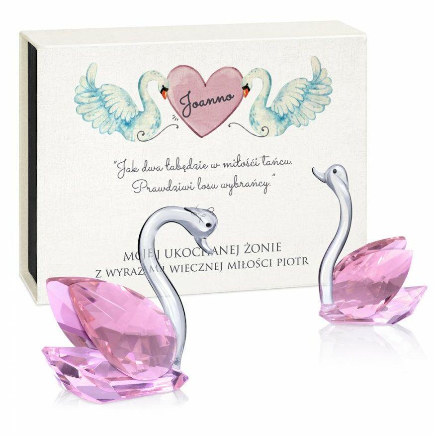 Łabędzie kryształowe w pudełku z nadrukiem dla żony na rocznicę walen