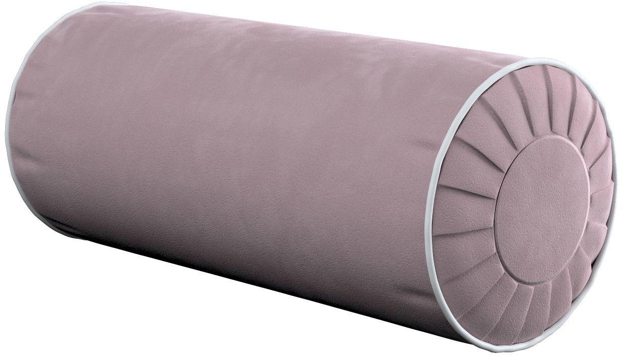 Poduszka wałek z zakładkami z lamówką, zgaszony róż, Ø20  50 cm, Velvet