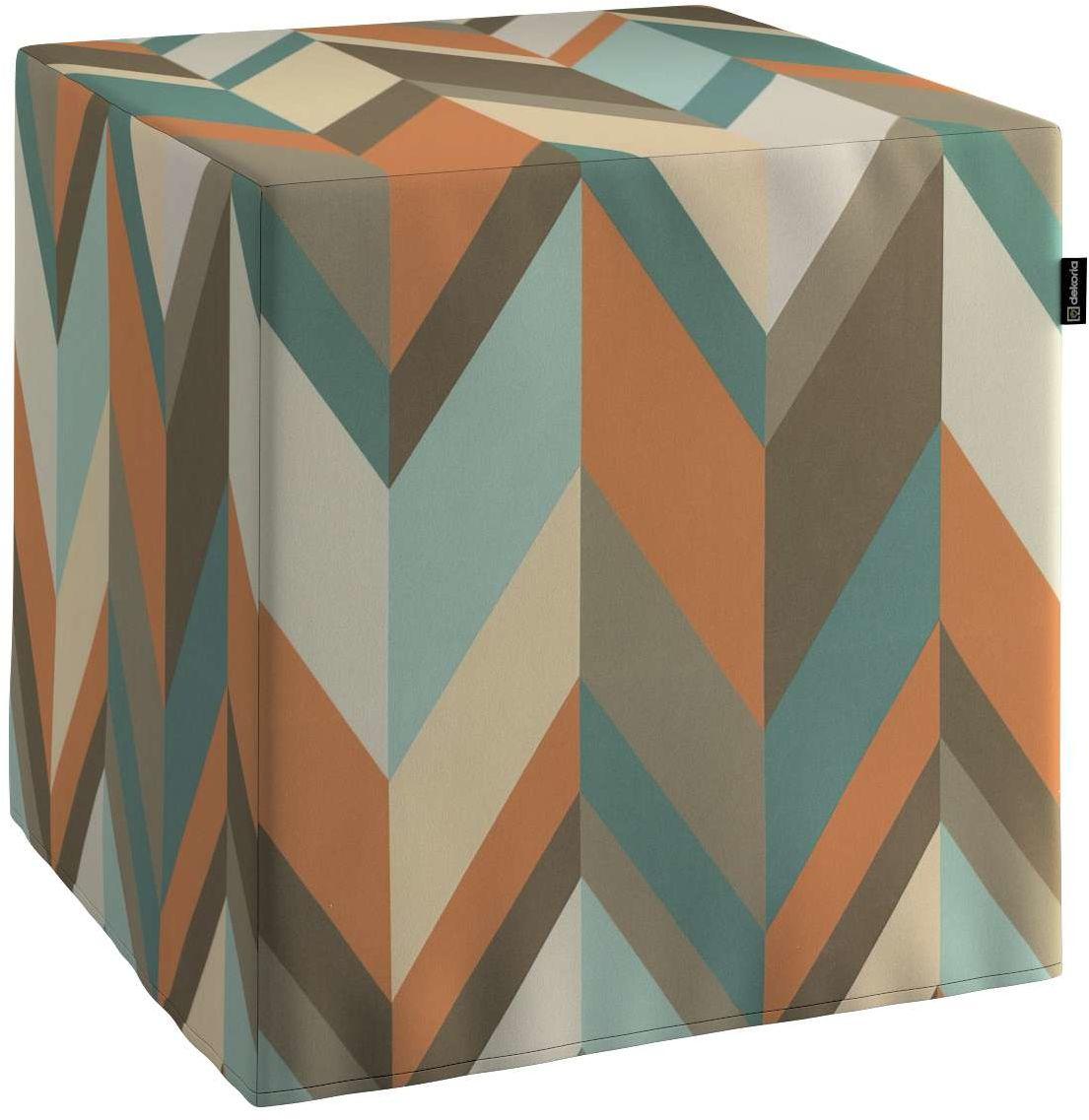 Pufa kostka, geometryczne wzory w rudo-brązowo-niebieskiej kolorystyce, 40  40  40 cm, Vintage 70''s