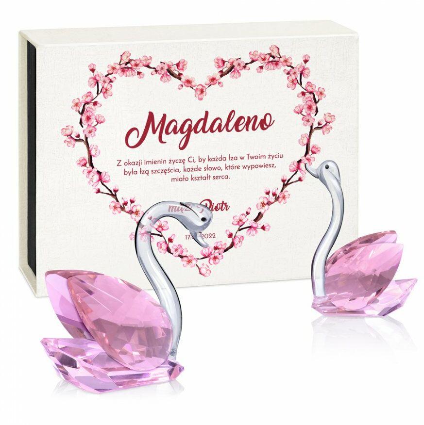Łabędzie kryształowe w pudełku z nadrukiem dla żony na imieniny