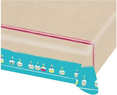 Amscan 9904394  obrus na przyjęcie urodzinowe, rozmiar 115 x 175 cm, papier, Happy Birthday, impreza, urodziny, ciasto, muffinki, świece, dekoracja stołu