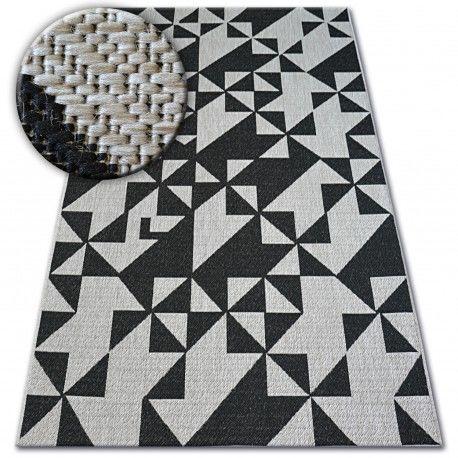 DYWAN SZNURKOWY SIZAL FLOORLUX 20489 silver / black TRÓJKĄTY 60x110 cm