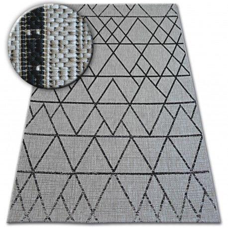 DYWAN SZNURKOWY SIZAL FLOORLUX 20508 silver / black TRÓJKĄTY 60x110 cm
