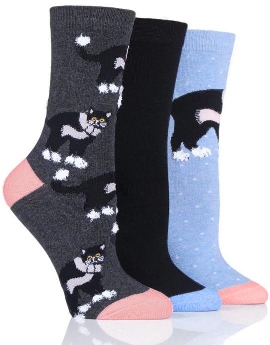 Damskie kolorowe skarpety Wild Feet, zimowy KOTEK w szaliku - 3 PARY!!!