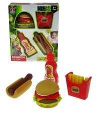 Zestaw fast food z keczupem, hot-dogiem, hamburgerem-ukł (HNS08)