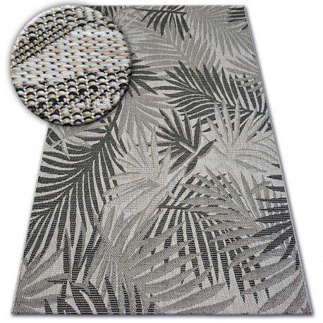 DYWAN SZNURKOWY SIZAL FLOORLUX 20504 LIŚCIE srebrny / czarny DŻUNGLA 60x110 cm