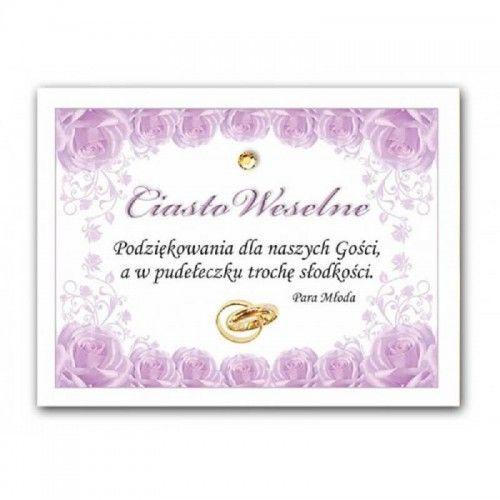 Etykieta na ciasto weselne, podziękowanie dla gości Fioletowe Róże, 25 szt.