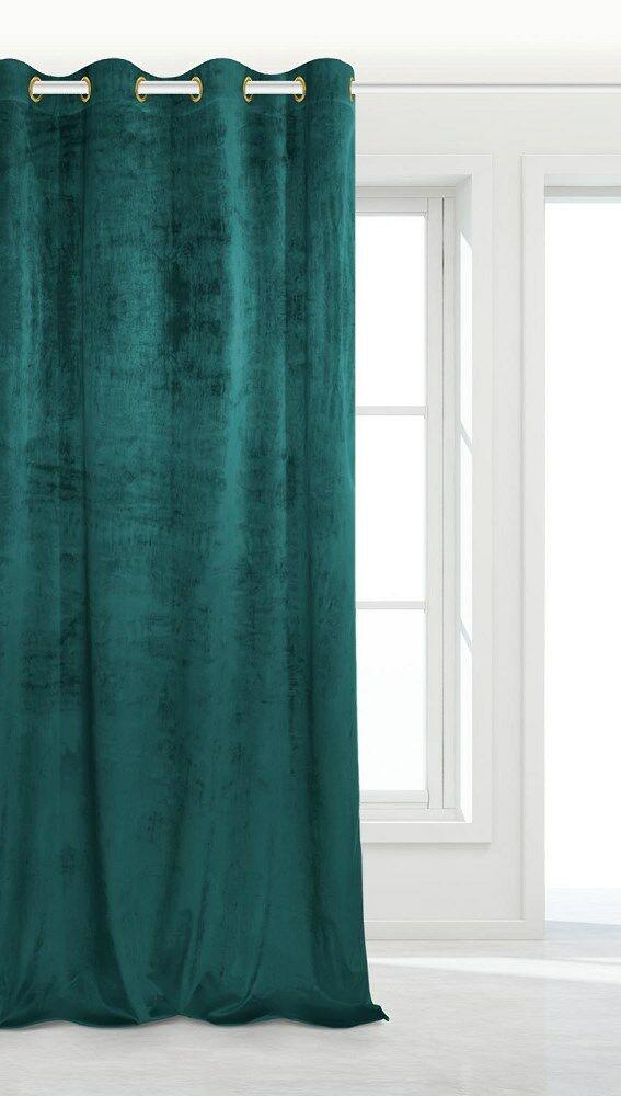 Zasłona gotowa 140x250 turkusowa ciemna na przelotkach soft Velvet do salonu