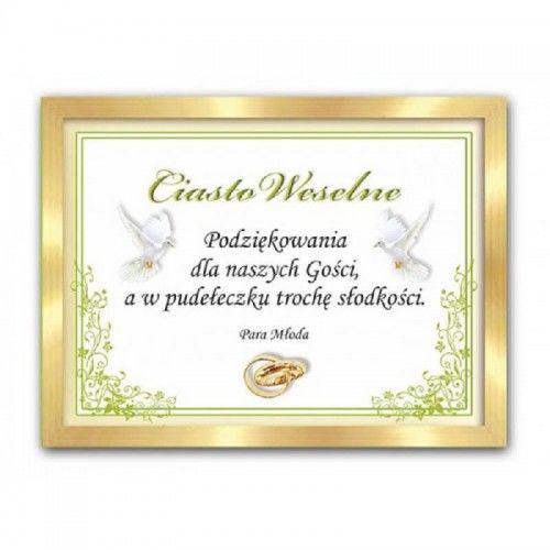 Etykieta na ciasto weselne, podziękowanie dla gości Zielony Motyw Roślinny ze Złotem, 25 szt.