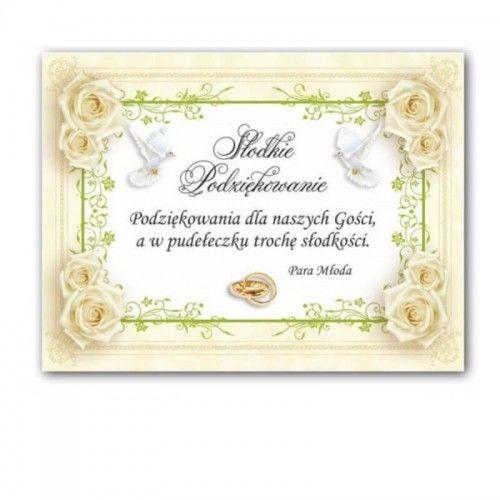 Etykieta na ciasto weselne, podziękowanie dla gości Róże i Florystyczny Ornament, 25 szt.
