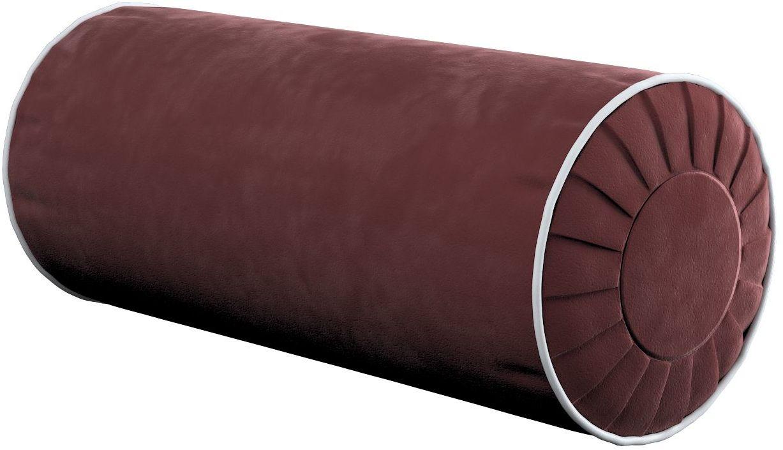 Poduszka wałek z zakładkami z lamówką, bordowy, Ø20  50 cm, Velvet