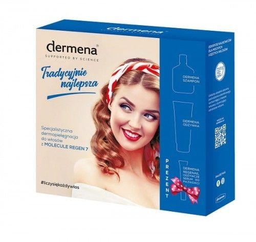 Dermena Zestaw prezentowy: Szampon i Odżywka hamujące wypadanie włosów 2x200ml + Serum Regenail odżywcze do paznokci 7ml