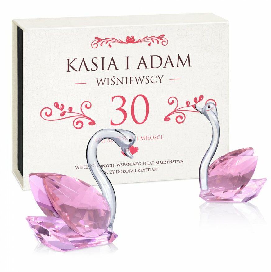 Łabędzie kryształowe w pudełku z nadrukiem dla pary na 30 rocznicę