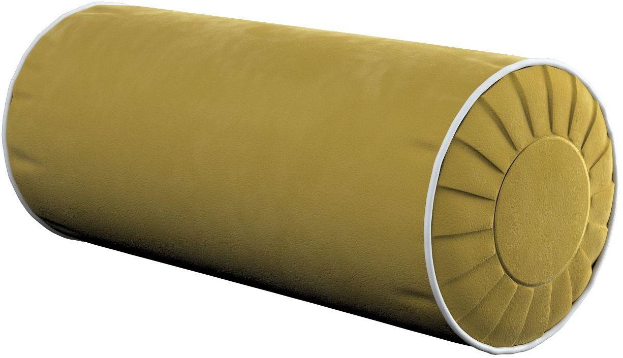 Poduszka wałek z zakładkami z lamówką, oliwkowy zielony, Ø20  50 cm, Velvet