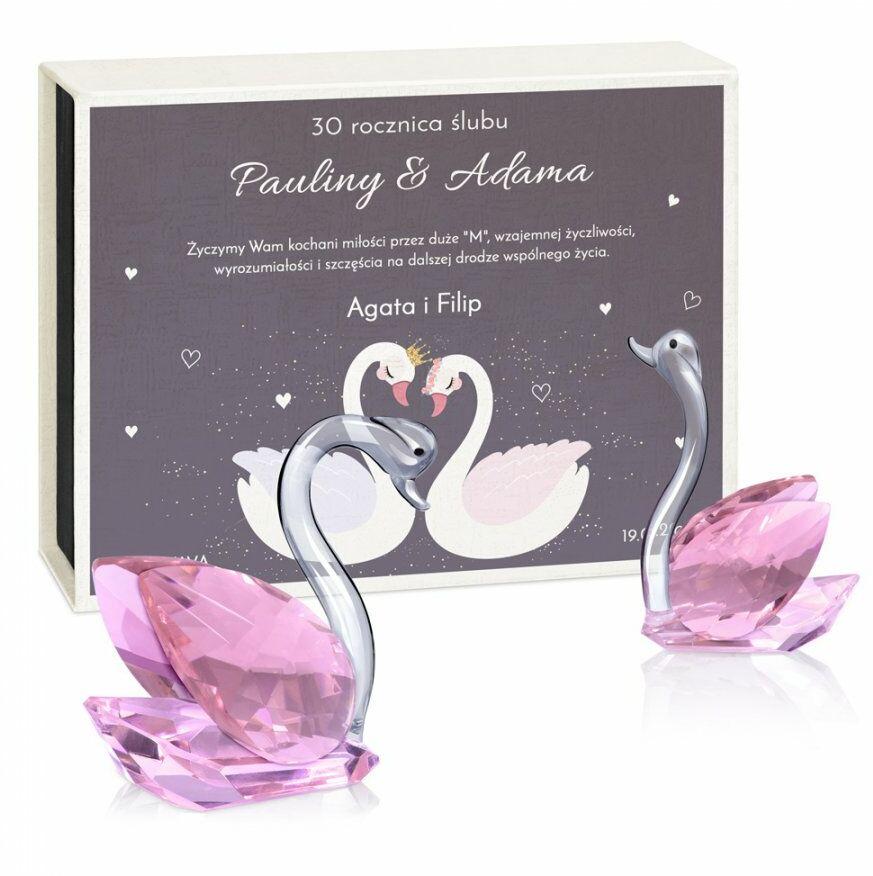 Łabędzie kryształowe w pudełku z nadrukiem dla pary na 30 rocznicę śl