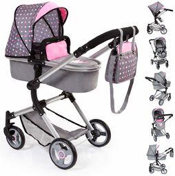 Bayer Design 18466AA wózek dziecięcy, wózek dziecięcy Neo Vario z torbą do przewijania i pod koszykiem na zakupy, składane, obrotowe koła przednie, szare różowe kropki z wróżką