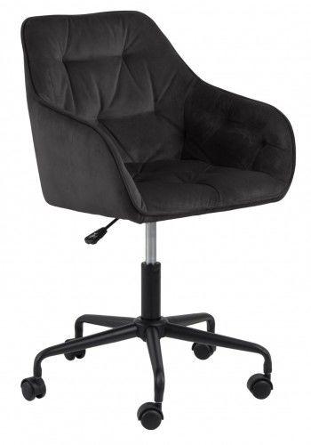 Aksamitny pikowany fotel biurowy Brooke ciemny szary