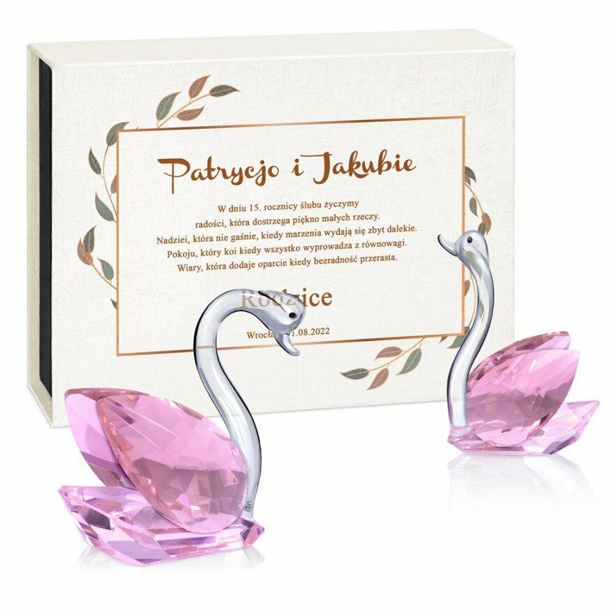 Łabędzie kryształowe w pudełku z nadrukiem dla pary na 15 rocznicę śl