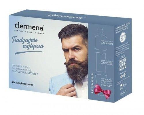 Dermena Men Zestaw prezentowy: Szampon Grey do włosów siwiejących i nadmiernie wypadających 200ml + Krem regenerujący na noc 50ml + Żel łagodzący do mycia twarzy 150ml