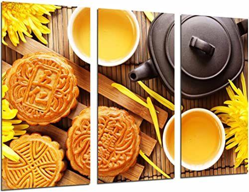 Obraz ścienny - Cafeteria, gotowanie, chińska herbata, ciasteczka, dzbanek do herbaty żółty kwiat, 97 x 62 cm, druk drewniany - format XXL - druk artystyczny, ref.27018