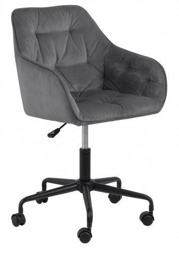 Aksamitny pikowany fotel biurowy Brooke jasny szary