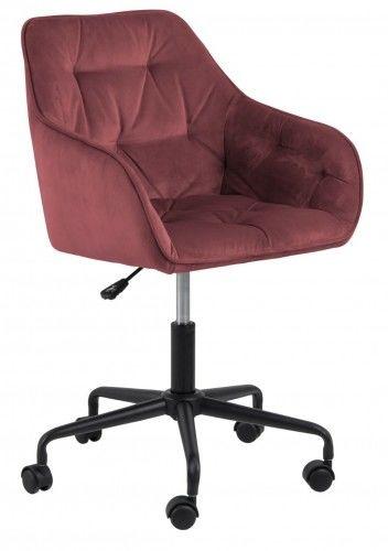 Aksamitny pikowany fotel biurowy Brooke bordowy