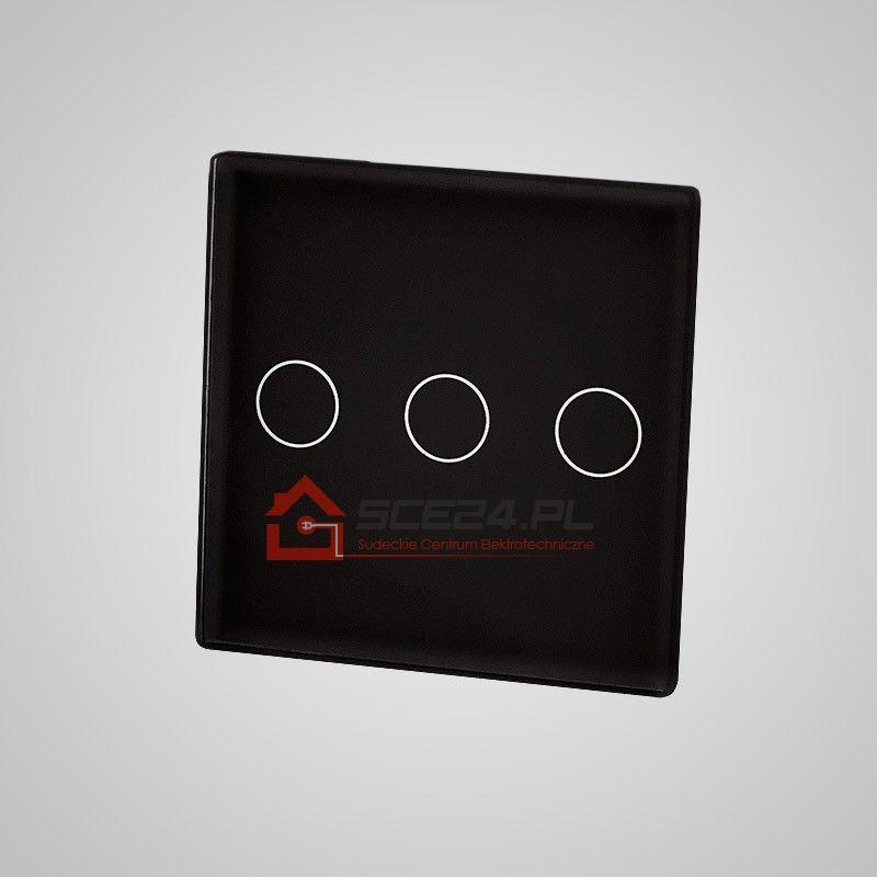 Mały panel dotykowy 47x47mm szklany, łącznik potrójny, czarny