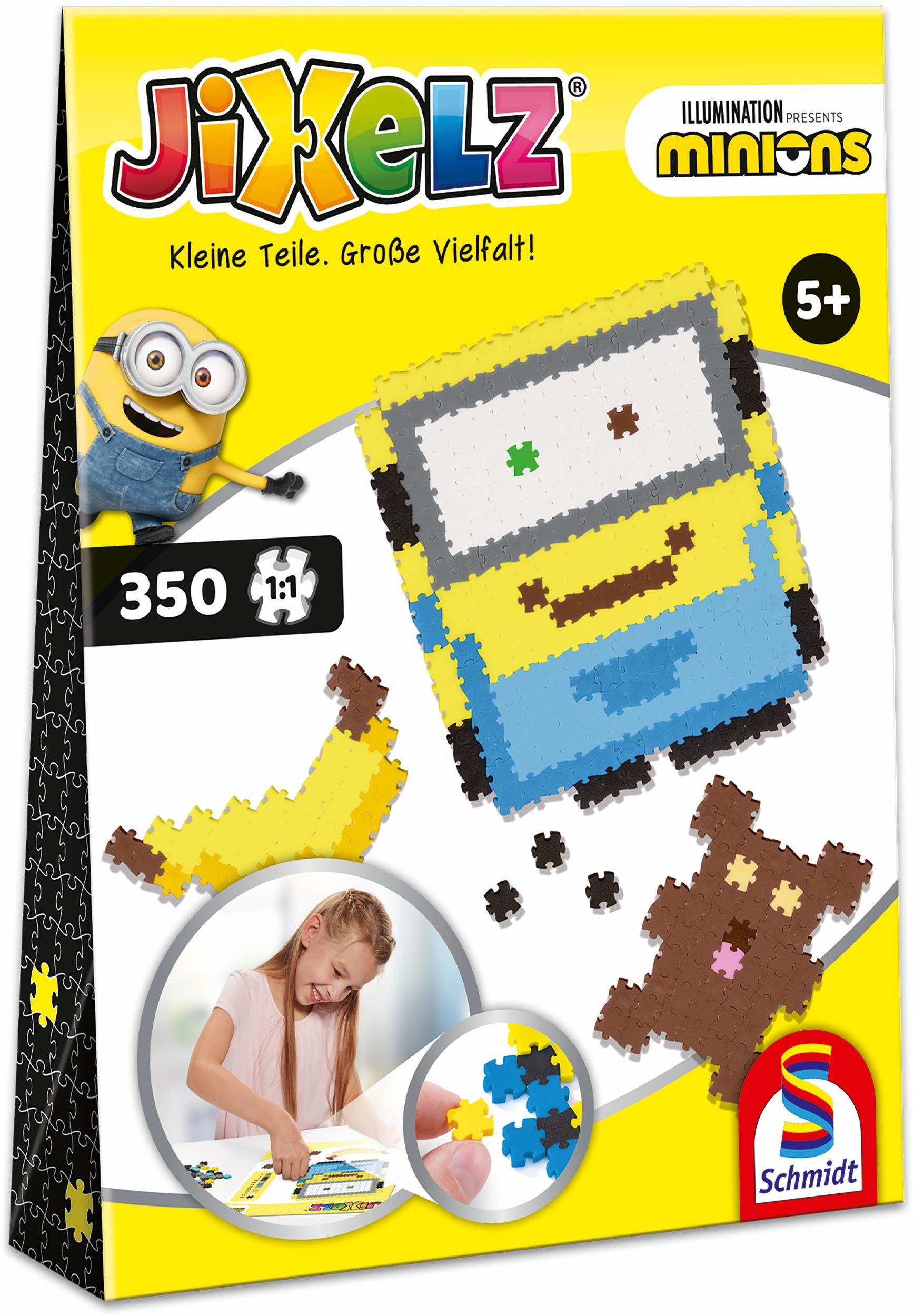 Schmidt Spiele 46107 Jixelz, Minionki, 350 części, dziecięce zestawy do majsterkowania