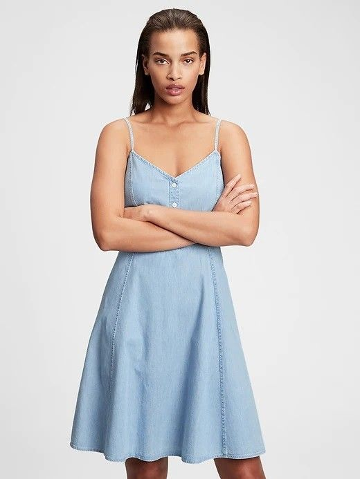 GAP niebieski dżinsowa sukienka Fit & Flare