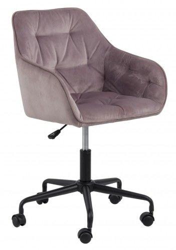 Aksamitny pikowany fotel biurowy Brooke różowy