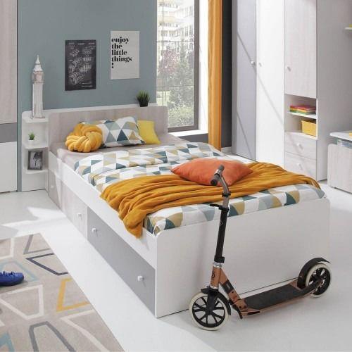 Łóżko como cm12 90x200 - biały lux/dąb wilton biały/szary