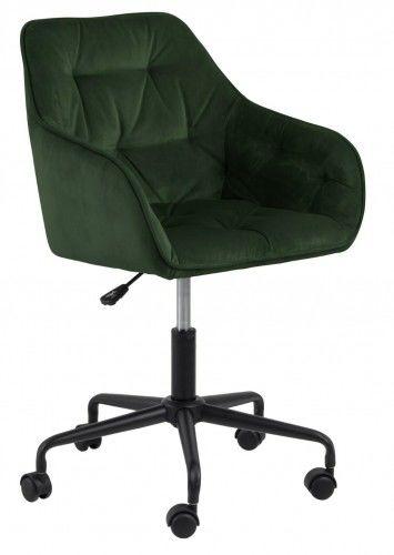 Aksamitny pikowany fotel biurowy Brooke ciemnozielony