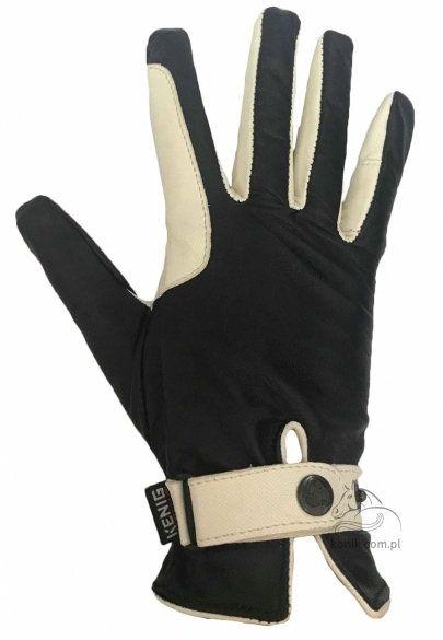 Rękawiczki ze skóry cielęcej czarne/białe - KENIG