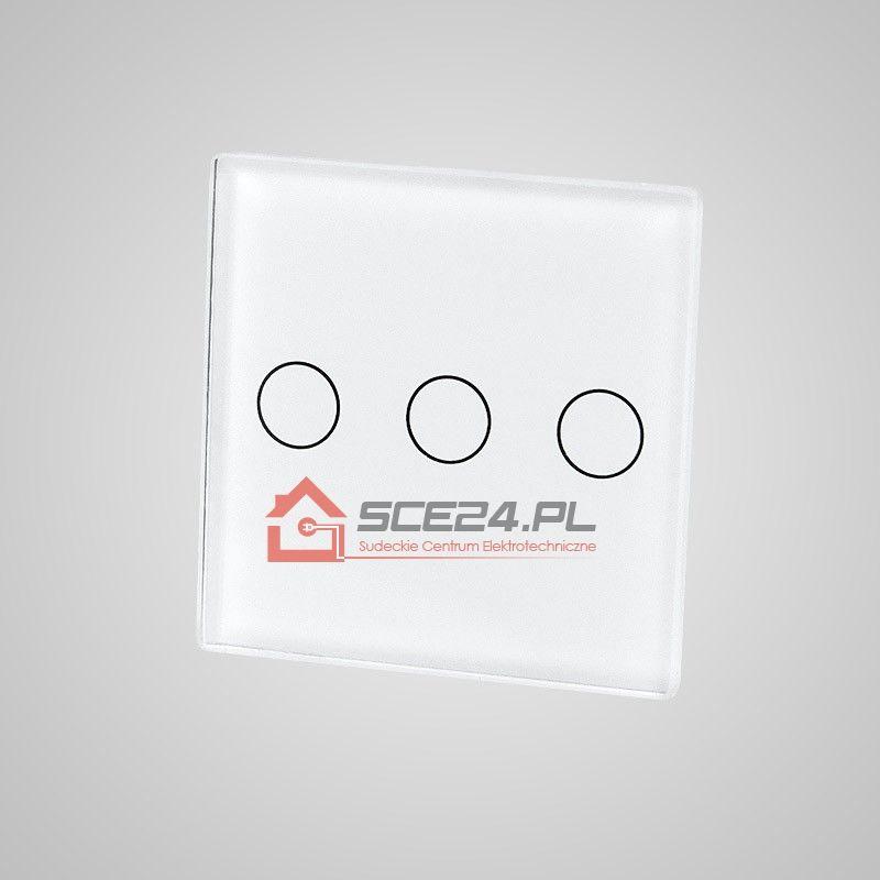 Mały panel dotykowy 47x47mm szklany, łącznik potrójny, biały