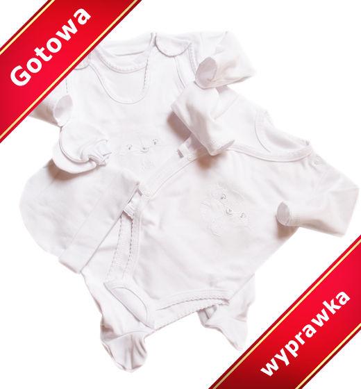 Wyprawka dla noworodka biała na prezent 5 ubranek
