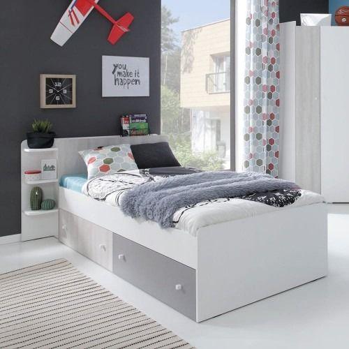 Łóżko como cm13 120x200 - biały lux/dąb wilton biały/szary