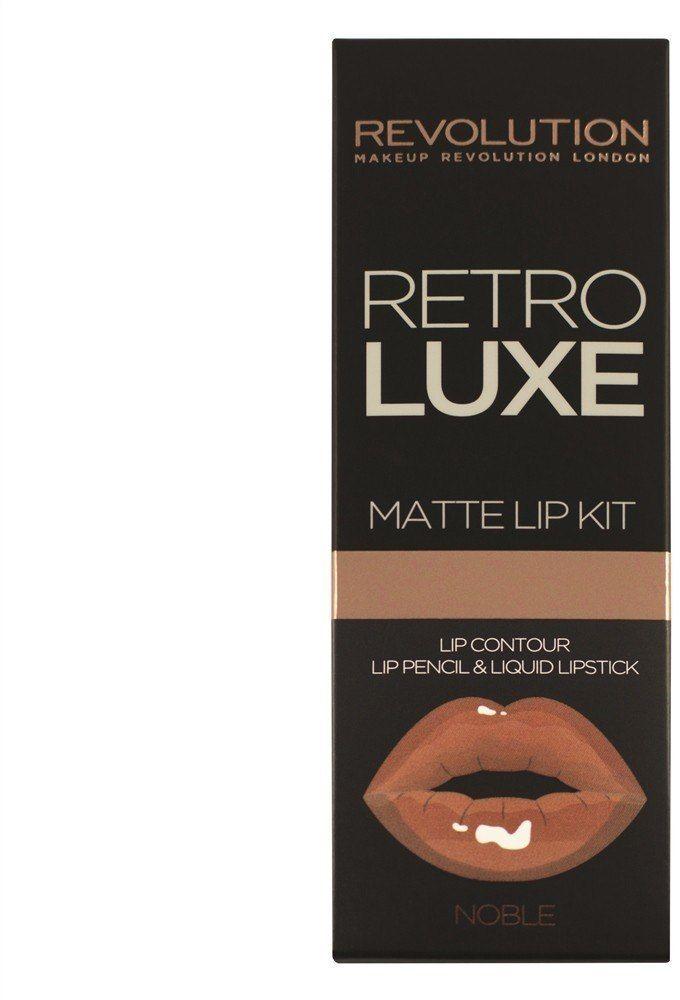 Make Up Revolution Makeup Revolution Retro Luxe Matte Lip Kits Zestaw do ust (konturówka +błyszczyk) Noble 1op.