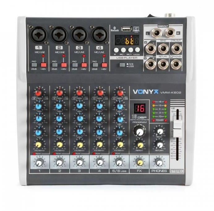 Vonyx VMM-K602 6-kanałowy mikser muzyczny Bluetooth interfejs audio USB