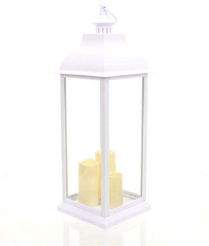LATARNIA Z ŚWIECĄ LED Lampion ŚWIECZNIK Znicz BIAŁY wys. 71 cm