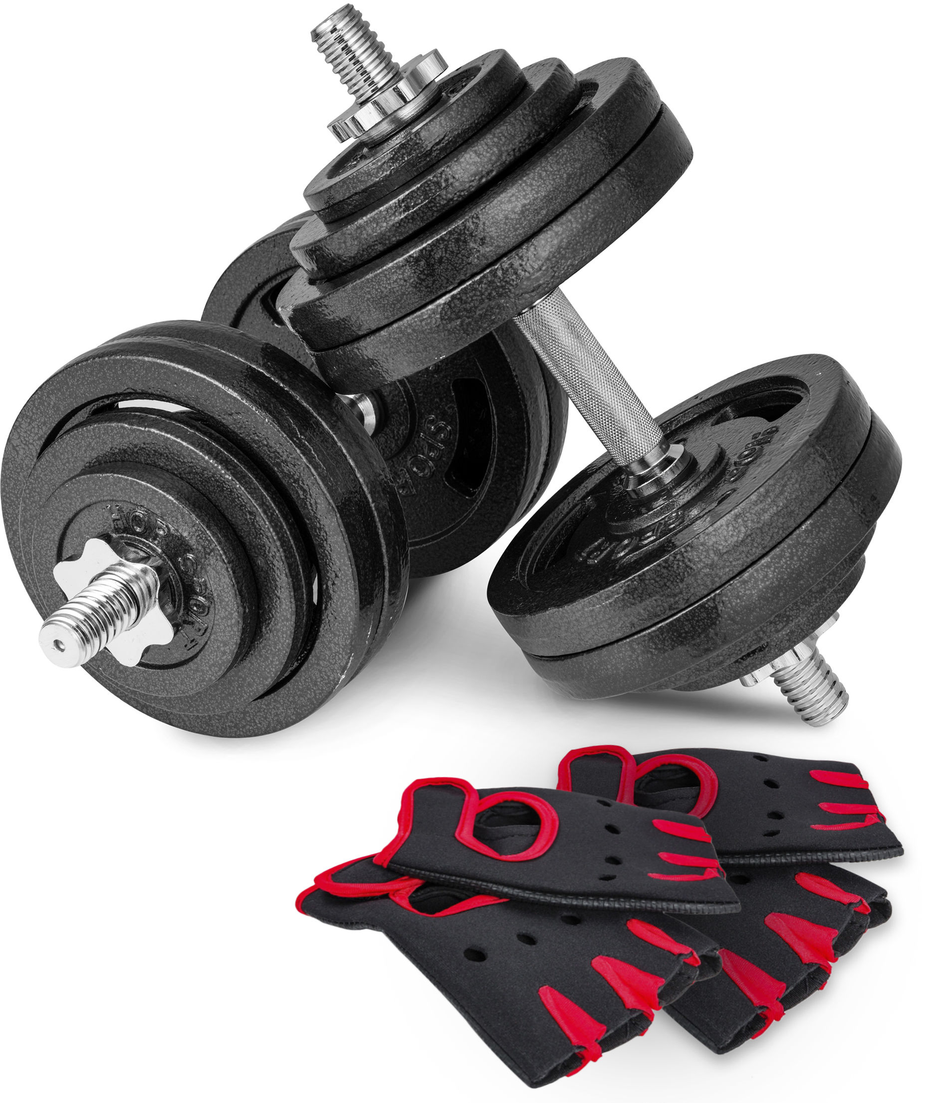 Hantle żeliwne strong Hop-Sport 2x30kg z rękawiczkami