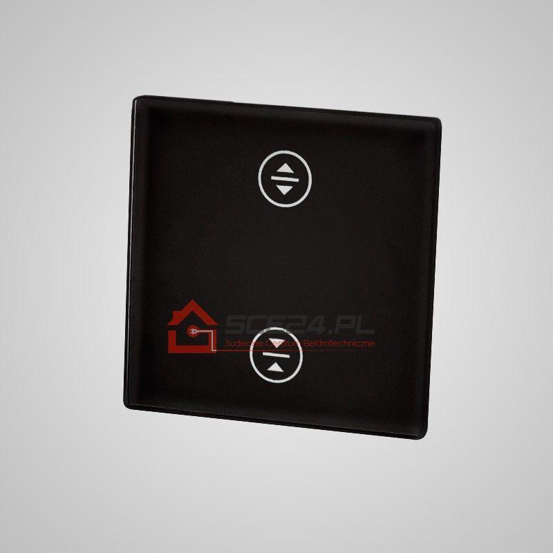 Mały panel dotykowy 47x47mm szklany, żaluzjowy, czarny