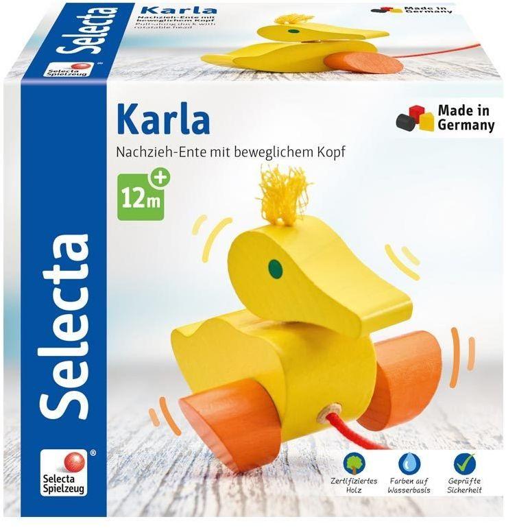 Selecta 62001 Kaczka Karla, zabawka do ciągnięcia, z drewna, 10 cm