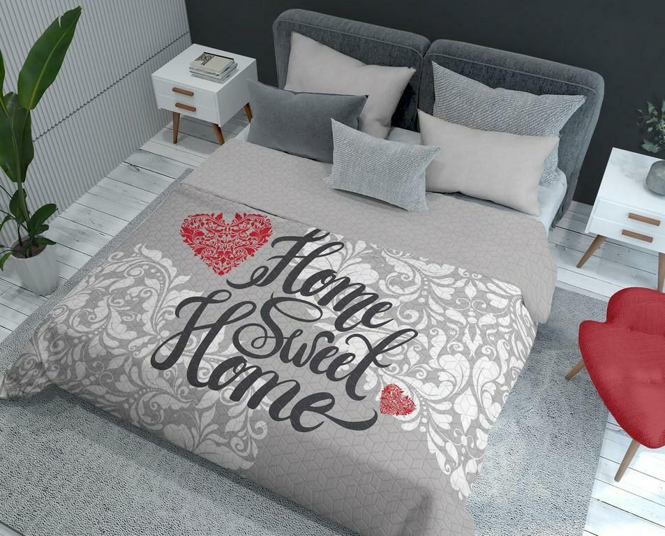 Narzuta dekoracyjna 170x210 Holland K11 Nie ma jak w domu Home sweet home serca orientalna ornamenty szara czerwona dwustronna