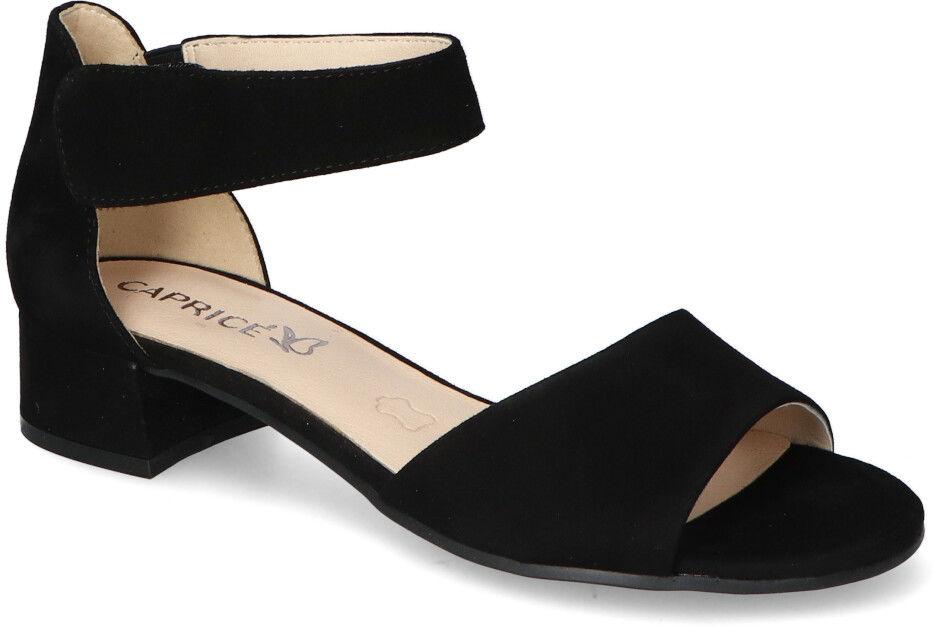 Stylowe Czarne Sandały Zamszowe Caprice Na Klocku Caprice 9-28212-26/004 Black Suede