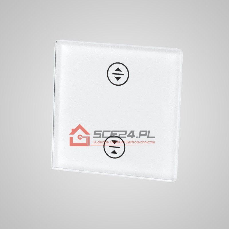Mały panel dotykowy 47x47mm szklany, żaluzjowy, biały