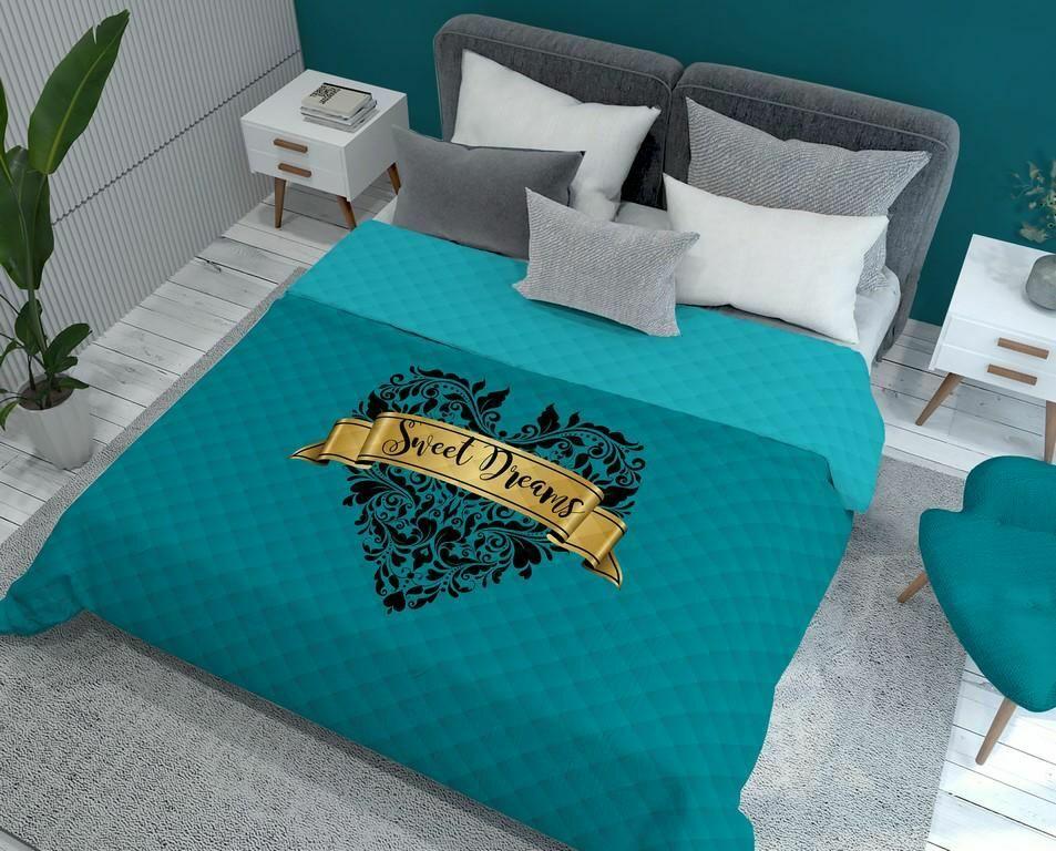 Narzuta dekoracyjna 170x210 Holland K13 Słodkich snów Sweet Dreams serce orientalna ornamenty turkusowa złota czarna dwustronna