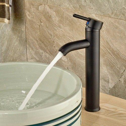 Bateria wysoka umywalkowa jednouchwytowa, czarny brąz