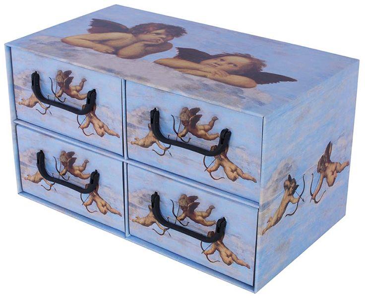 Pudełko kartonowe 4 szuflady poziome ANIOŁKI BŁĘKITNE