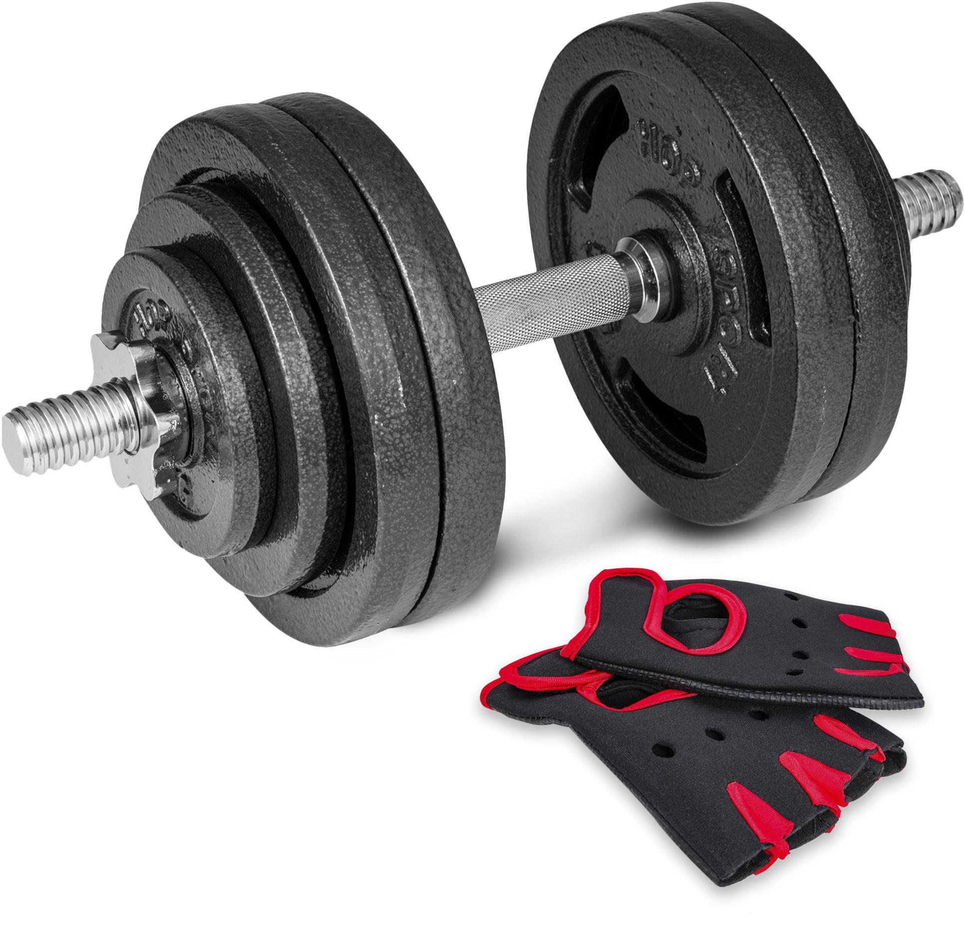 Hantla żeliwna strong Hop-Sport 1x30kg z rękawiczkami