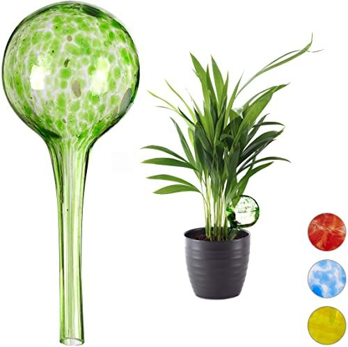 Relaxdays Kula do nawadniania, zestaw 2 sztuk, dozowane nawadnianie roślin i kwiatów, pomoc w podlewaniu w biurze, na urlopie, Ø 6 cm, szkło, zielony, wys. x śr.: ok. 15 x 6 cm